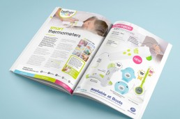 advertorial magazine design packaging design